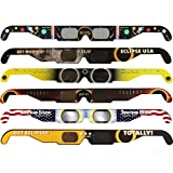 Solar Eclipse Glasses - CE and ISO Certified Safe Shades for Direct Sun Viewing - Viewer & Filter - Made in USA (6 Pack) - Astronaut American Flag