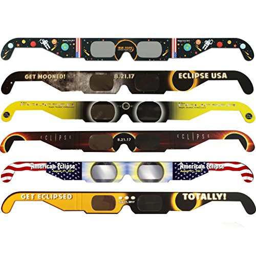 Solar Eclipse Glasses - CE and ISO Certified Safe Shades for Direct Sun Viewing - Viewer & Filter - Made in USA (6 Pack) - Astronaut American - Insure Your Sunglasses