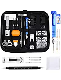 Professional Watch Repair Kit Tool Watchmaker Case Back Opener Watch Band Buckle Remove with Scaled Spring Bar Pin Tweezers Screwdriver Case Band Holder Removal ET015