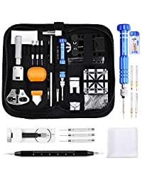 ETEPON Professional Watch Repair Kit Tool Watchmaker Case Back Opener Watch Band Buckle Remove with Scaled Spring Bar Pin Tweezers Screwdriver Case Band Holder Removal ET015 (Watch Repair kit)