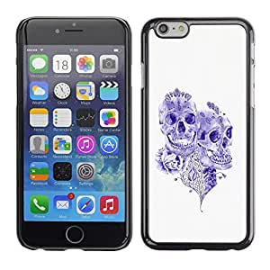 Shell-Star Arte & diseño plástico duro Fundas Cover Cubre Hard Case Cover para Apple iPhone 6 Plus(5.5 inches)( Purple Ink Tattoo Skull Death Art Rose )