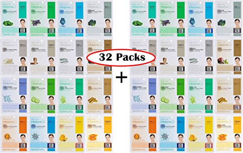 Dermal Korea Collagen Essence Full Face Facial Mask Sheet 32 Combo Pack