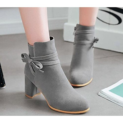 leather HSXZ for Heel Beige Fall Winter Shoes Gray Women's Nubuck Grey Boots Black Yellow Ankle Chunky Boots Comfort Booties Bootie ZHZNVX Casual dCqwIw