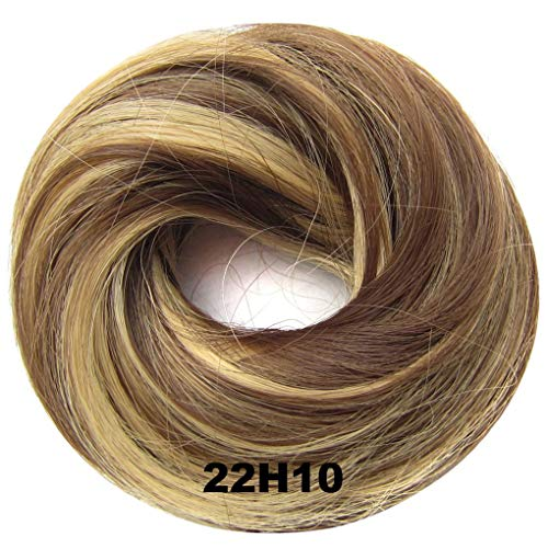 PrettyWit Wavy Curly Messy Hair Bun Updo Extensions Chignons Piece Wig Scrunchy Scrunchie Hairpiece Ribbon Ponytail-Ash Blonde and Medium Golden Brown 22H10