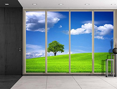 Clouds Over Lone Tree on a Grass Hill Viewed From Sliding Door Creative Wall Mural Peel and Stick Wallpaper