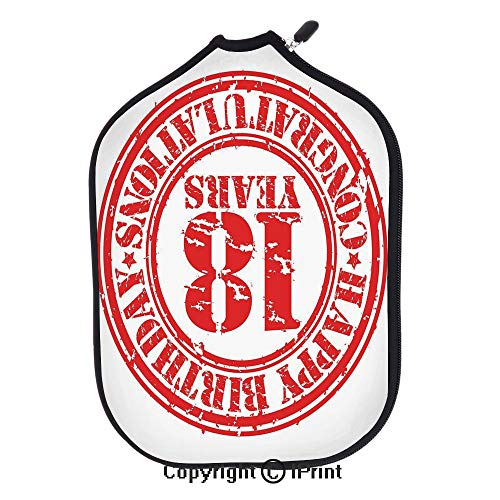 Neoprene Premium Pickleball Paddle Racket Cover Case,Vintage Happy Birthday Sweet Eighteen Stamp Icon Image Print(size:8.23