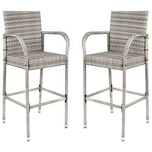 Homall Patio Bar Stools Wicker Barstools Indoor Outdoor Bar Stool Patio Furniture with Footrest and Armrest for Garden Pool Lawn Backyard Set of 2 (Gray)