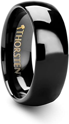 Thorsten Raven Rounded Domed Polished Black Tungsten Ring 7mm Wide Wedding Band from Roy Rose Jewelry