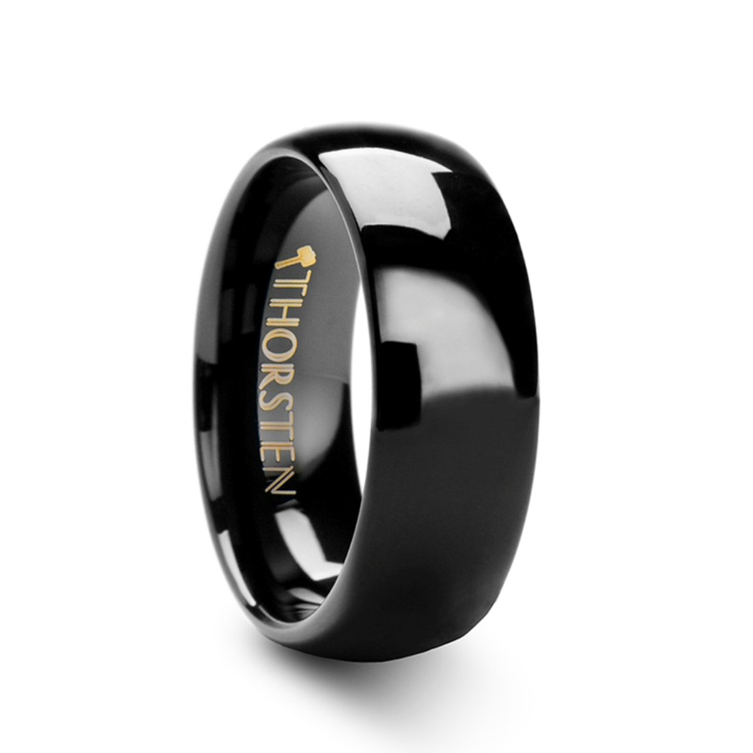 Thorsten Raven Rounded Domed Polished Black Tungsten Ring 8mm Wide Wedding Band from Roy Rose Jewelry