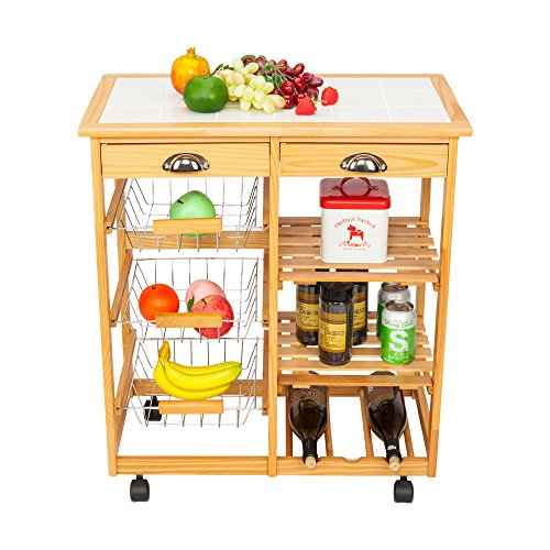 Kepooman Kitchen Dining Cart Portable Folding Rolling Wood Drop Leaf Kitchen Island Storage Trolley Cart Shelves w/Drawers,Wine Rack,Fruit Baskets
