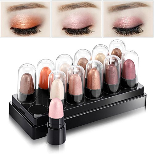 Hot Sale 12 Colors 1 Set Metal Nude Eyeshadow Palette Diamond Glitter Eye Shadow Stick Shimmer Eye Makeup Set Beauty Cosmetic Gift (02#)