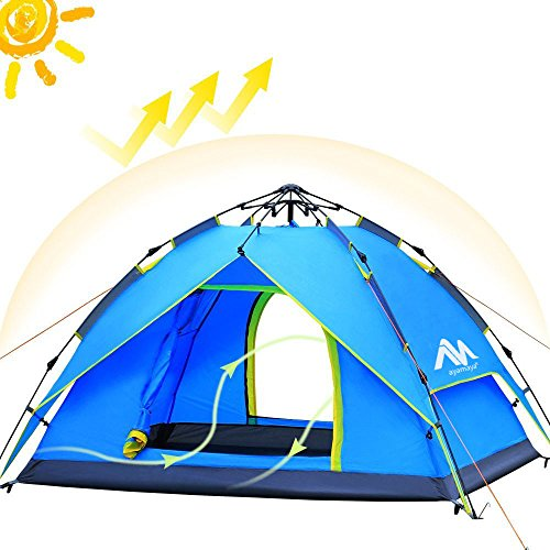 Camping Tents 3-4 Person [2 Doors] Easy Pop Up, AYAMAYA Waterproof [Double Layer] [Quick Setup] Hydraulic Automatic Family Beach Dome Tent UV Protection with Carry Bag for Hiking Picnic Backpacking