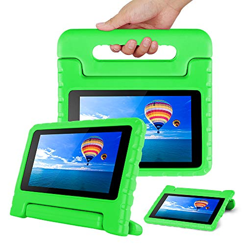 CAM-ULATA Compatible with Amazon Fire 7 2017 2015 Case Kids 7inch Shockproof Kid Proof with Stand Kindle 5th 7th Cover Green for Boys Girls Teens
