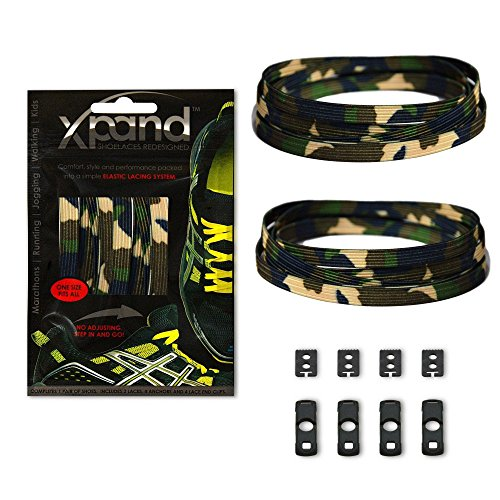 - Xpand No Tie Shoelaces System with Elastic Laces - Green Camo - One Size Fits All Adult and Kids Shoes