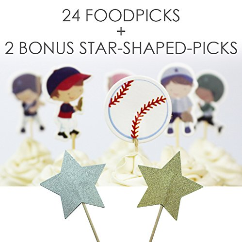 Value Pack- 24 Cupcake Toppers Picks- Various Themes (Baseball)