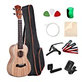Umiee Concert Ukulele Mahogany, 23 inch Ukulele Starter Kits with Tuner/Strap/Carry Bag/Picks/Aquila String/Capo/Grover/Percussion Musical Egg/Clear Cloth