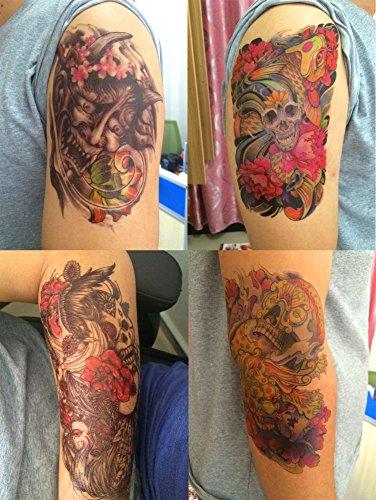 DaLin 4 Sheets Temporary Tattoos, Cherry Monster, Sugar Skull, Koi Fish, Dragon