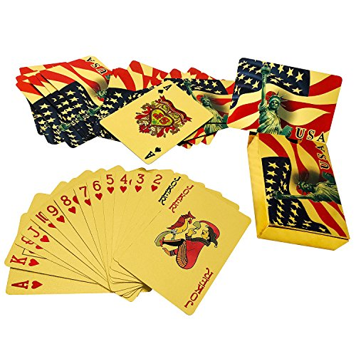 - YH Poker Luxury 24K Gold Foil Plated Playing Cards, Bridge Size, US Flag Back Design