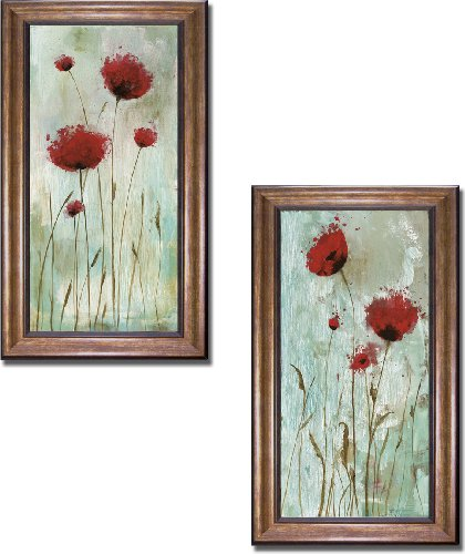 Artistic Home Gallery Splash Poppies I & II by Catherine Brink 2-pc Premium Bronze-Gold Framed Canvas Set (28 in x 16 in each Framed Canvas in Set, Ready-to-Hang) from Artistic Home Gallery