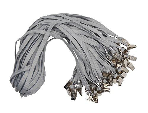 GRAY Lanyards 50PCS 33-Inch Flat Cotton Lanyard with Badge Clip (Cotton Gray)