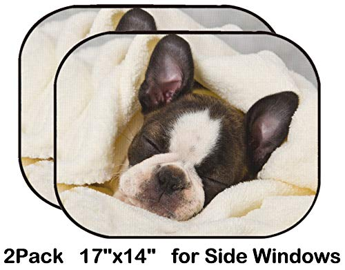 (Liili Car Sun Shade for Side Rear Window Blocks UV Ray Sunlight Heat - Protect Baby and Pet - 2 Pack Boston Terrier Sleeping in White Towels Studio Shoot Photo 20130004)