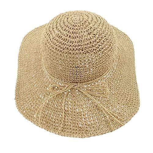 Beige Ganchillo Gancho Gran ala Mujer Adulta Mujeres Verano Protector Solar Boater Hat Classic Ladies Flat Top Beach Hat