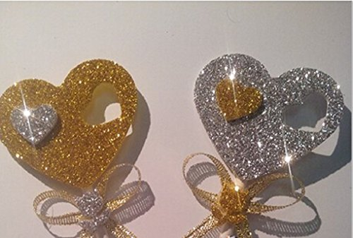 Price comparison product image Glisten Love Heart Cupcake Toppers-set of 12 Silver and Gold (Gold)