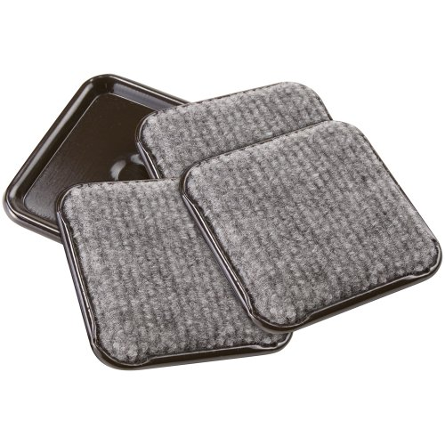 SoftTouch 4291995N Furniture Caster Cups Square with Carpeted Bottom for Hard Floor Surfaces (4 Piece), 2-1/2 Inch, Gray ()