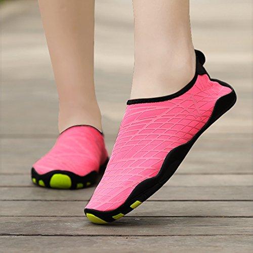 Unisex AFFINEST Wohnung Pink Wasserschuhe Damen Trocknend Breathable Strandschuhe Aquaschuhe Rutschfest Multicolor Schnell Surfschuhe Herren Schwimmschuhe dXUU6rwx