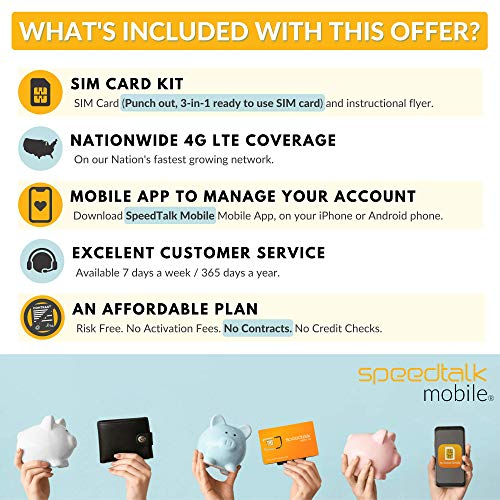 SpeedTalk Mobile $18 Smart Watch SIM Card for 4G GSM Smartwatches and Wearables - 30 Day Service