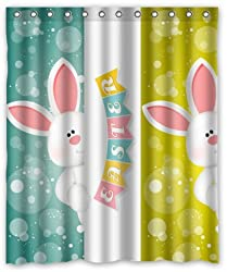 Unique Custom Happy Easter Cute Rabbits Design Background Waterproof fabric Polyester Shower Curtain
