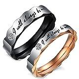 "Best Flongo Wedding Ring Sets - Flongo Mens Womens Free Engraving ""I Will Always Review"