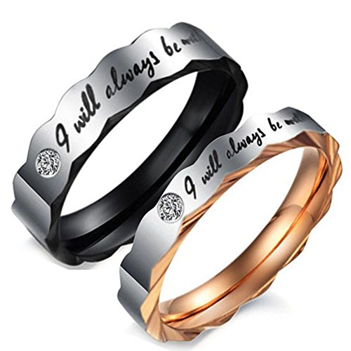 Flongo Mens Womens 5mm 3.5mm I Will Always Be with You Couples Ring, Stainless Steel Wedding Engagement Promise Ring Band