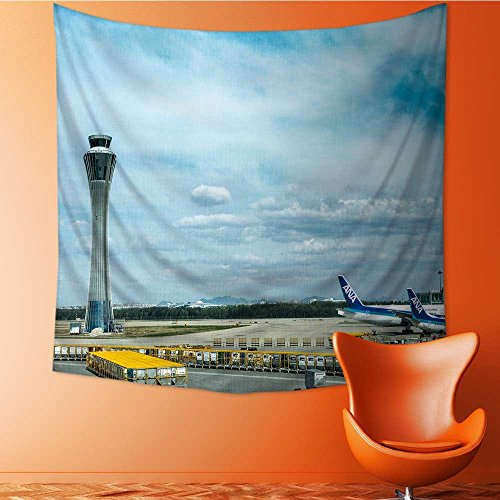 AuraiseHome Polyester Fabric Wall Decor Air Traffic Control Tower and Aiport Wall Hanging Bedroom Living Room Dorm Home Decor Tapestry55W x 55L Inch