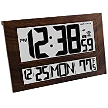 MARATHON CL030025WD Jumbo Atomic Wall Clock with 6 Time Zones, Indoor Temperature, Date & Stand - Batteries Included