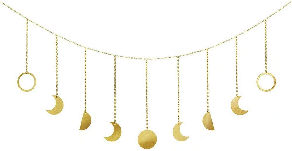 """Moon Mirror Decor Wall Hanging Decorations Moon Phases Wall Art for Bedroom, Home, Living Room, Apartment or Dorm (78.7"""", Gold Metal)"""