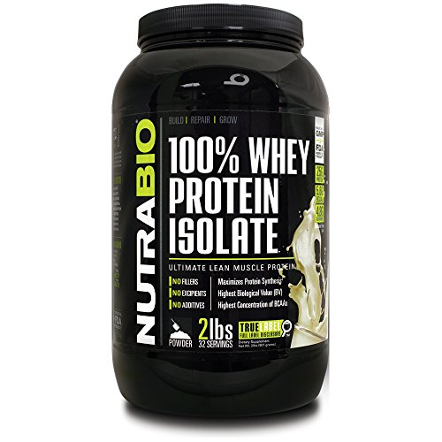 NutraBio 100% Whey Protein Isolate - £ 2 - Unflavored sans soja, concentré de lactosérum NO, NO acides aminés Smasher seulement 100% Pure WPI.
