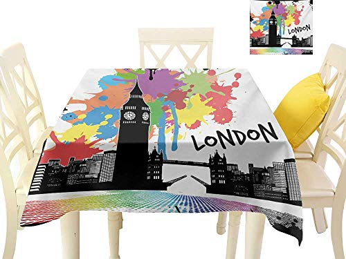 familytaste Tablecloth Retro,Vintage London City View with Color Splashes Poster Style Grunge Urban Artwork Image,Multicolor Coffee Hall Home Decorative Cover W 60
