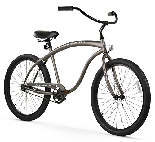 Firmstrong Bruiser Man Single Speed Beach Cruiser Bicycle, 26-Inch, Matte Grey