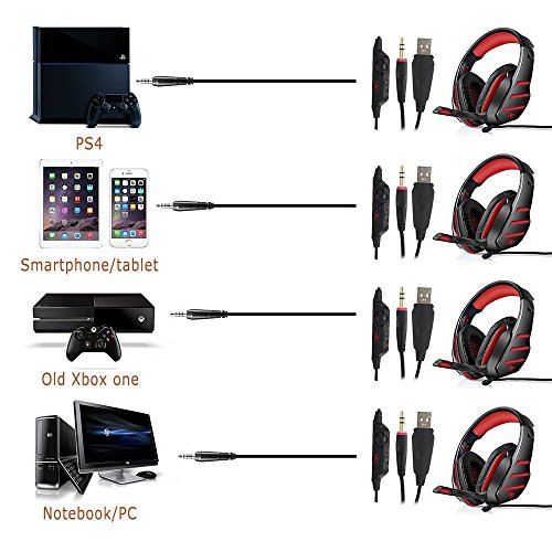 PS4 Headset, PS4 Headphones, PC Gaming Headset with LED light, Over-ear Professinal Gaming Headphones with Mic 3.5mm, Christmas Gifts, Noise Reduction Bass Headsets for PC, Laptops, Tablets. by IMMOSO (Image #1)