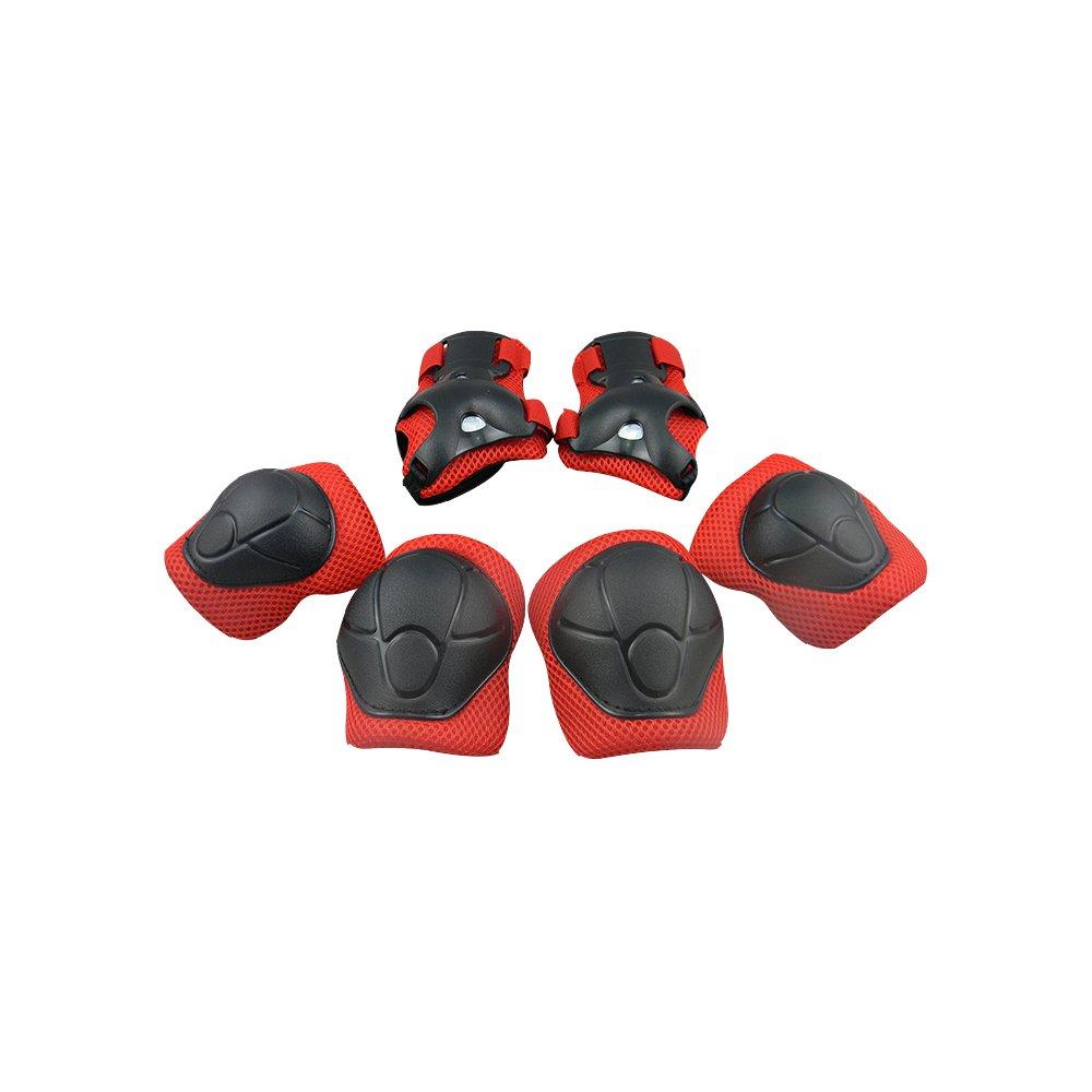 キッズ ユース 保護ギアセット 手首ガード 肘パッド 膝パッド スケートボード ローラーブレード サイクリング レッド