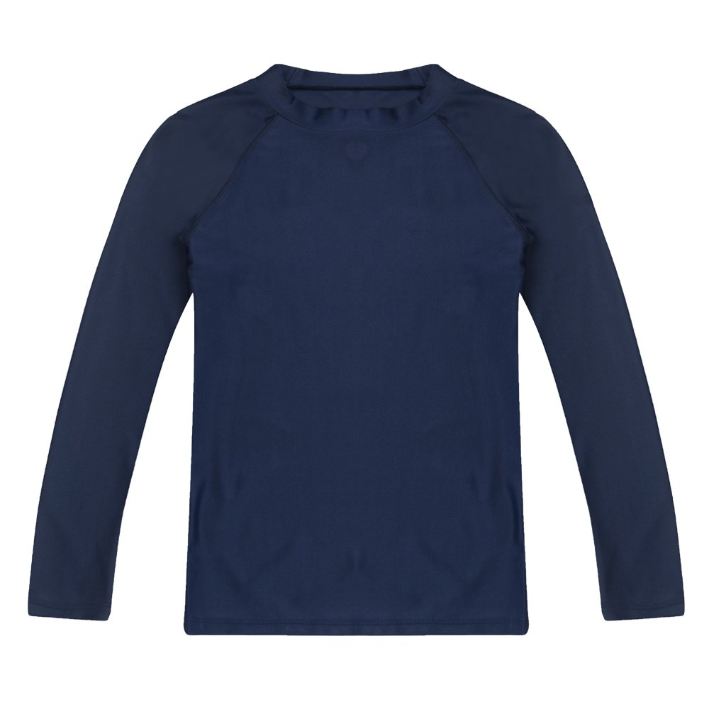 Boys' Long Sleeve Rashguard Swimwear Rash Guard Athletic Tops Swim Shirt UPF 50+ Sun Protection, Navy 6