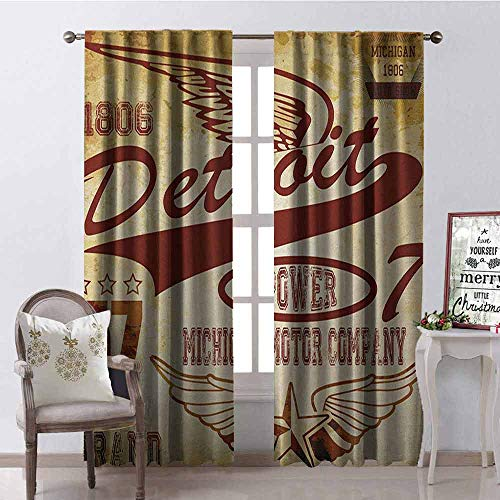 Gloria Johnson Detroit Blackout Curtain Vintage Elements Michigan Company Free Wings Transport Auto Show Themed 2 Panel Sets W52 x L84 Inch Pale Yellow Burgundy