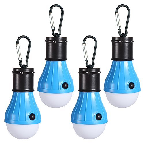 Doukey LED Camping Lights [4 Pack] Portable LED Tent Lanterns 4 Modes for Backpacking Camping Hiking Fishing Emergency Light Battery Powered Lamp for Outdoor and Indoor (Blue)