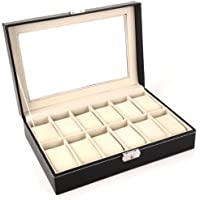 High-grade jewelry box 12 Compartment leather watch box organizer crocodile grain case black OSBZ15