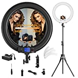 Ring Light,Upgraded Version 19inch with LCD Display Adjustable Color Temperature 3000K-5800K with Stand, YouTube Makeup, for Video Shooting, Portrait, Vlog, Selfie (No Carrying Bag)