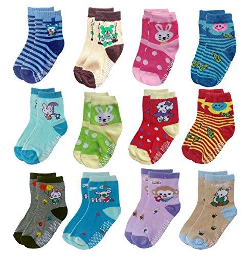 Deluxe Non Skid,Anti Slip,Slipper Ankle Socks For Baby,Toddler,Kids,Boys,Girls (1-3 years, 12 Pack/Assorted)