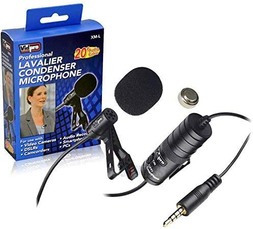 20 Audio Cable Nikon D5100 Digital Camera External Microphone Vidpro XM-L Wired Lavalier Microphone Transducer Type Electret Condenser