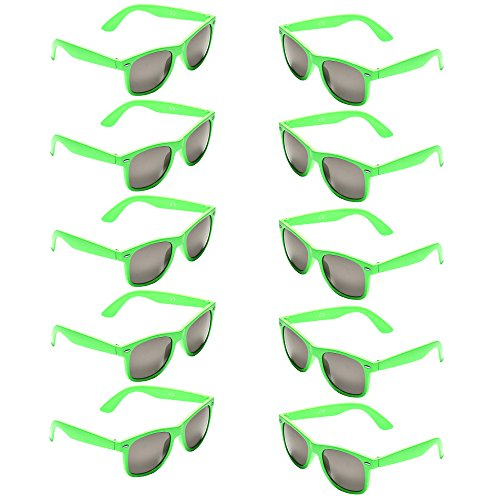 Oaonnea UV Protection Neon Colors 80's Retro Classic Party Favors Sunglasses (green)