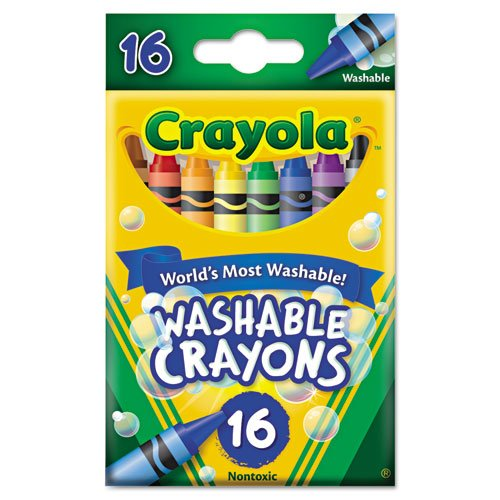 Crayola 526916 Washable Crayons, Regular, 8 Colors, 16/Box